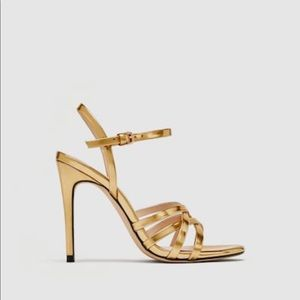 BNIB Zara Gold Heeled Sandals